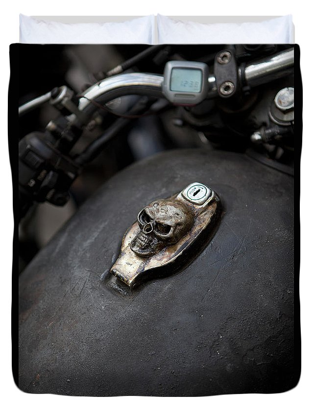 Berlin Duvet Cover featuring the photograph Skull Design On Motorcycle Ignition by Andreas Schlegel