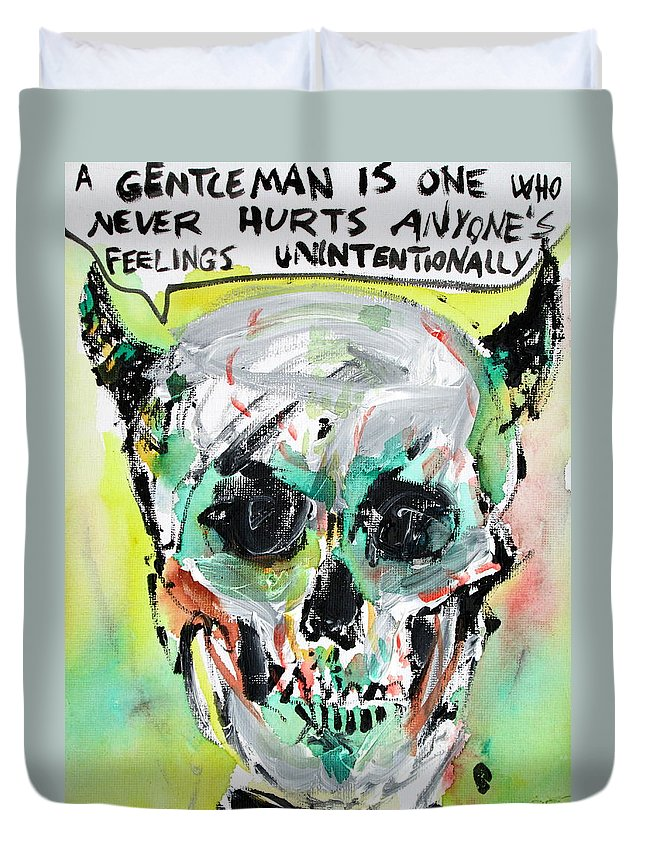 Skull Duvet Cover featuring the painting Skull Quoting Oscar Wilde.8 by Fabrizio Cassetta