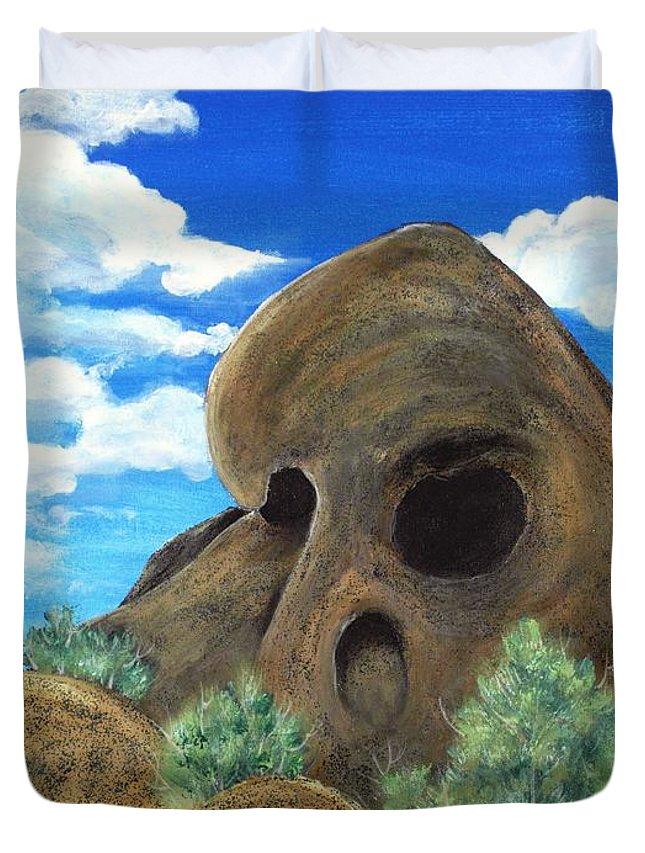 Malakhova Duvet Cover featuring the painting Skull Rock by Anastasiya Malakhova