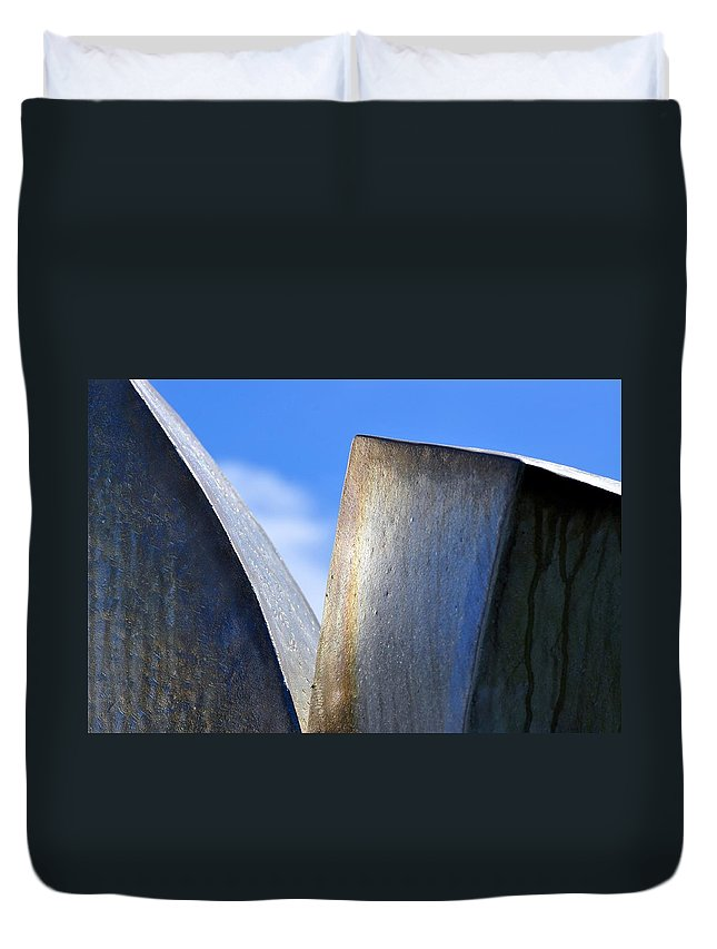 Sculpture Duvet Cover featuring the photograph Sky And Metal In The Garden by Gregory Strong