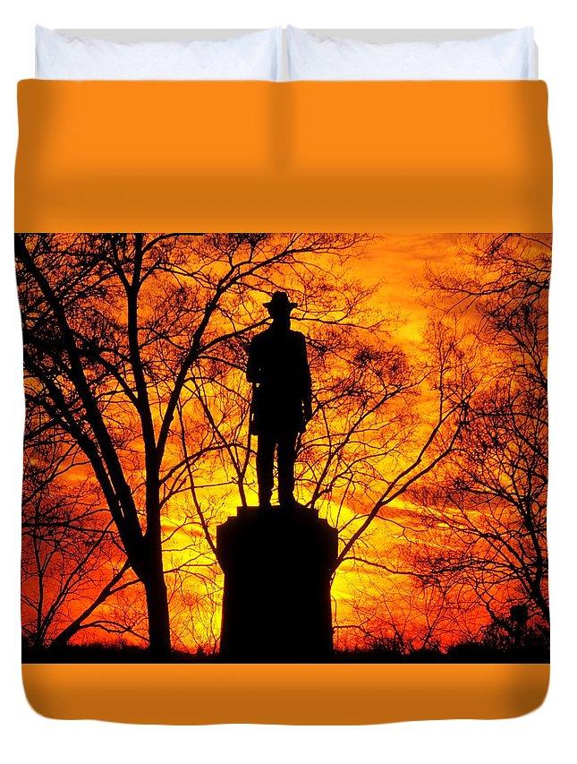 Civil War Duvet Cover featuring the photograph Sky Fire - Flames Of Battle 50th Pennsylvania Volunteer Infantry-a1 Sunset Antietam by Michael Mazaika