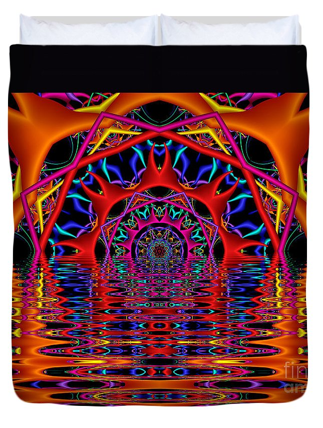 Sky Fire Duvet Cover featuring the digital art Sky Fire by Kimberly Hansen