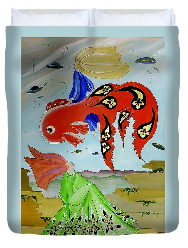 Fish Duvet Cover featuring the painting Sky Mermaid by Rosemarie Temple-Smith