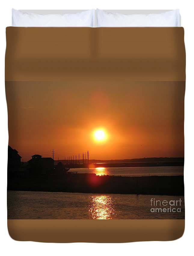 Sunset Duvet Cover featuring the photograph Sky On Fire Over Chincoteague Island by Christiane Schulze Art And Photography