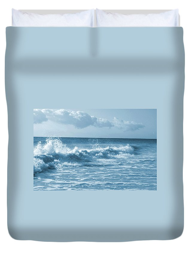 Water Duvet Cover featuring the photograph Sky -waves -water- Clouds In Blue by Maria isabel Villamonte