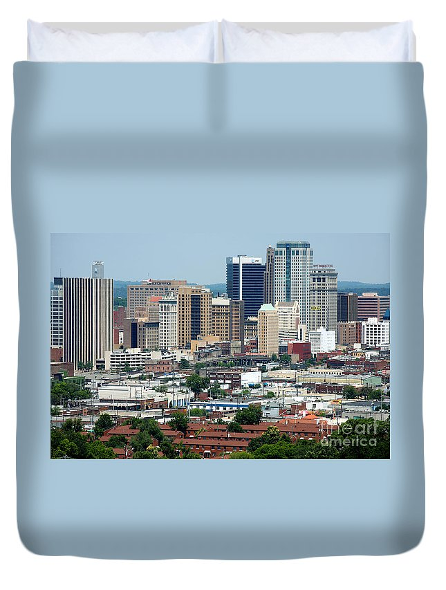 City Federal Building Duvet Cover featuring the photograph Skyline Of Birmingham by Bill Cobb