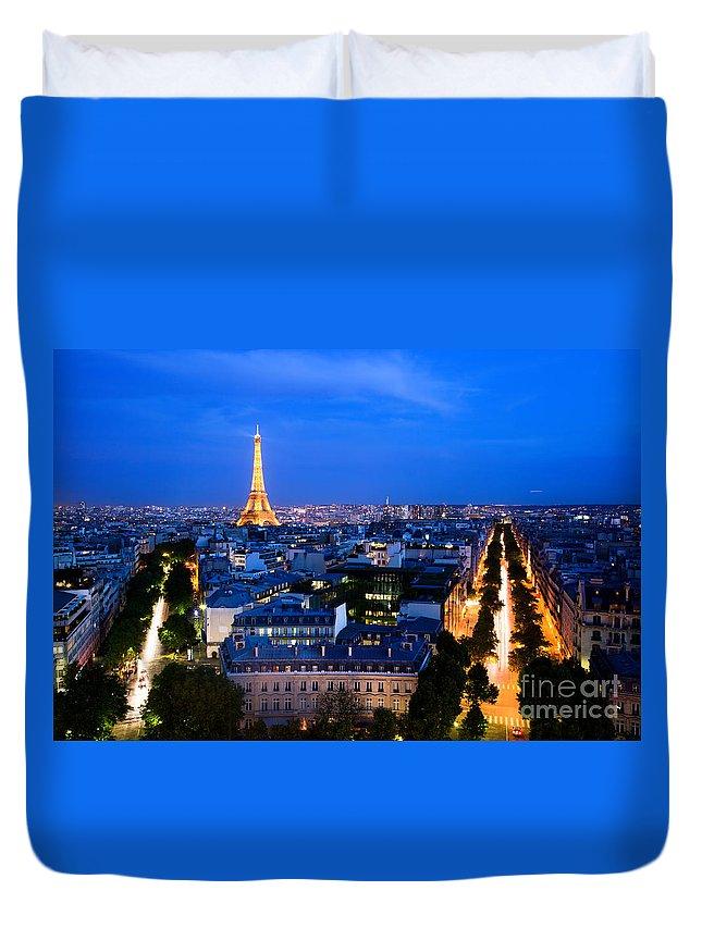 Paris Duvet Cover featuring the photograph Skyline Of Paris by Michal Bednarek