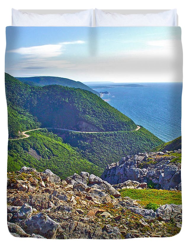 Skyline Trail And Road Through Cape Breton Highlands Np Duvet Cover featuring the photograph Skyline Trail And Road Through Cape Breton Highlands Np-ns by Ruth Hager