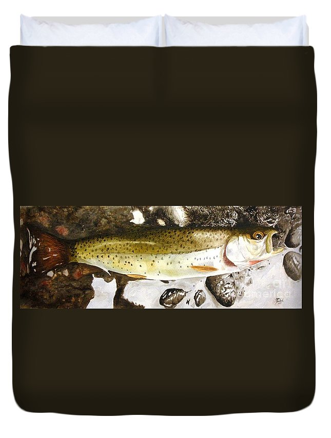 Trout Duvet Cover featuring the painting Slab On The Rocks by Jason Bordash