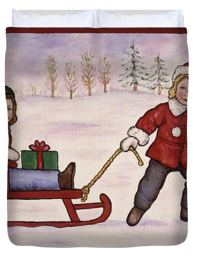 Christmas Duvet Cover featuring the painting Sledding by Linda Mears
