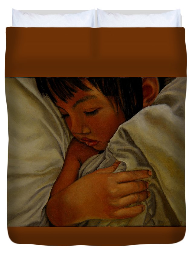 Child Duvet Cover featuring the painting Sleep by Thu Nguyen