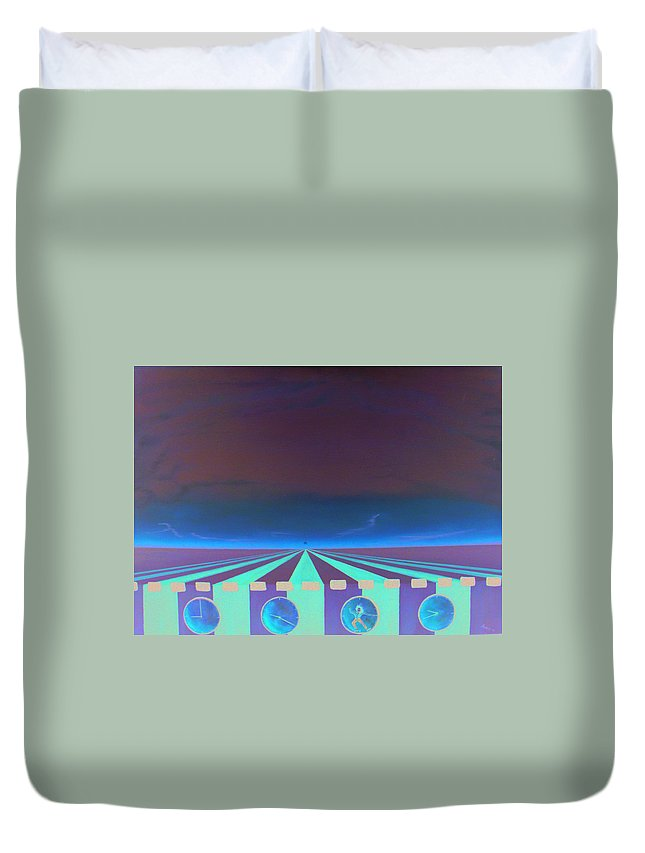Surrealism Duvet Cover featuring the painting Sleep Wake Rise by Albert Puskaric