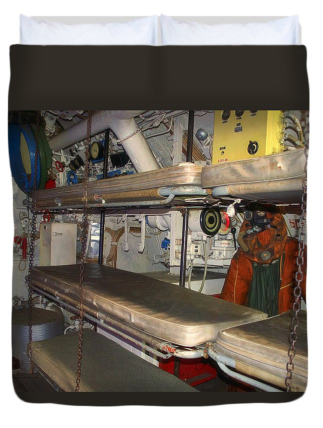 Submarine Duvet Cover featuring the photograph Sleeping Area Russian Submarine by Thomas Woolworth