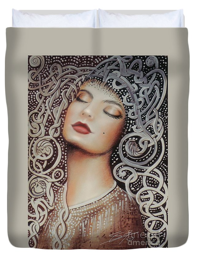 Beautiful Duvet Cover featuring the painting Sleeping Beauty by Artist ForYou