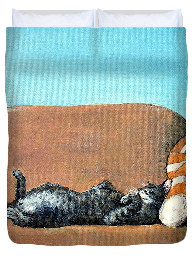Calm Duvet Cover featuring the painting Sleeping Cat by Anastasiya Malakhova