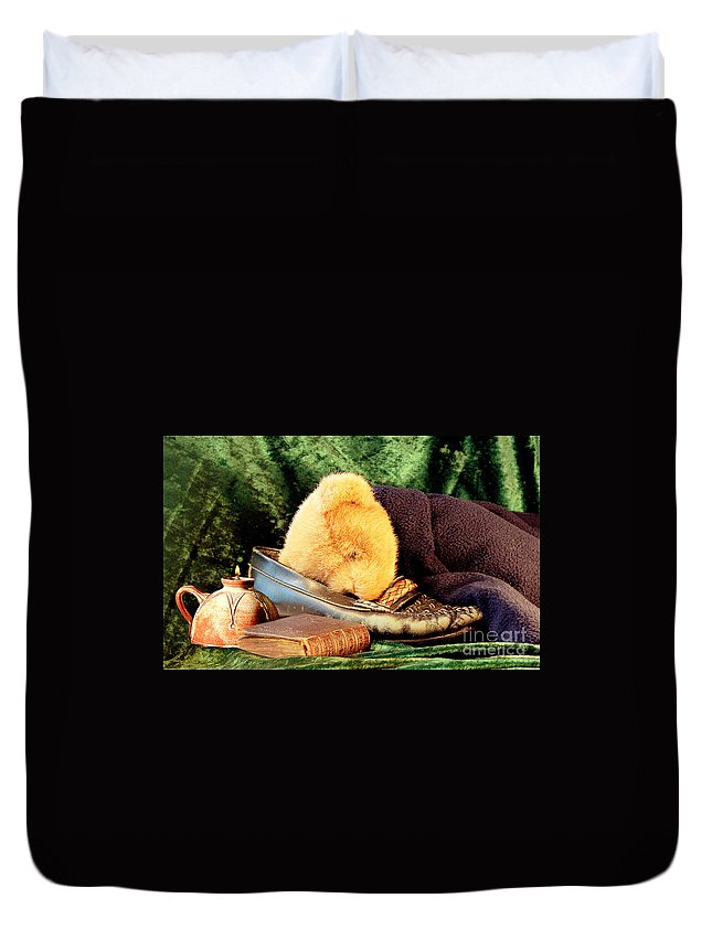 Teddy Duvet Cover featuring the photograph Sleeping Teddy by Louise Heusinkveld
