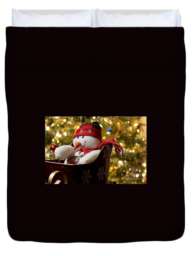 Snowman Duvet Cover featuring the photograph Sleigh Ride by Janice Byer