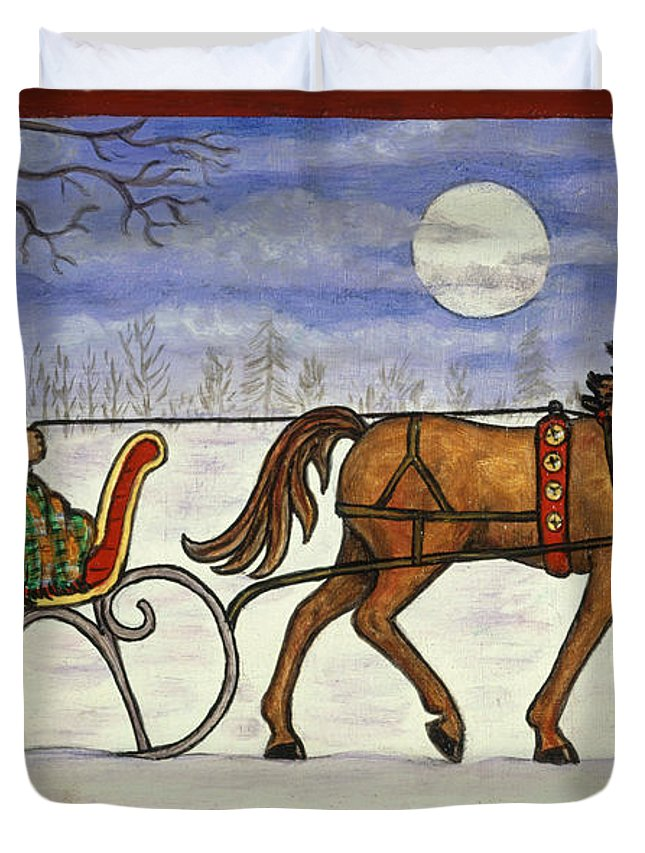 Folk Art Christmas Duvet Cover featuring the painting Sleigh Ride With Grandpa by Linda Mears