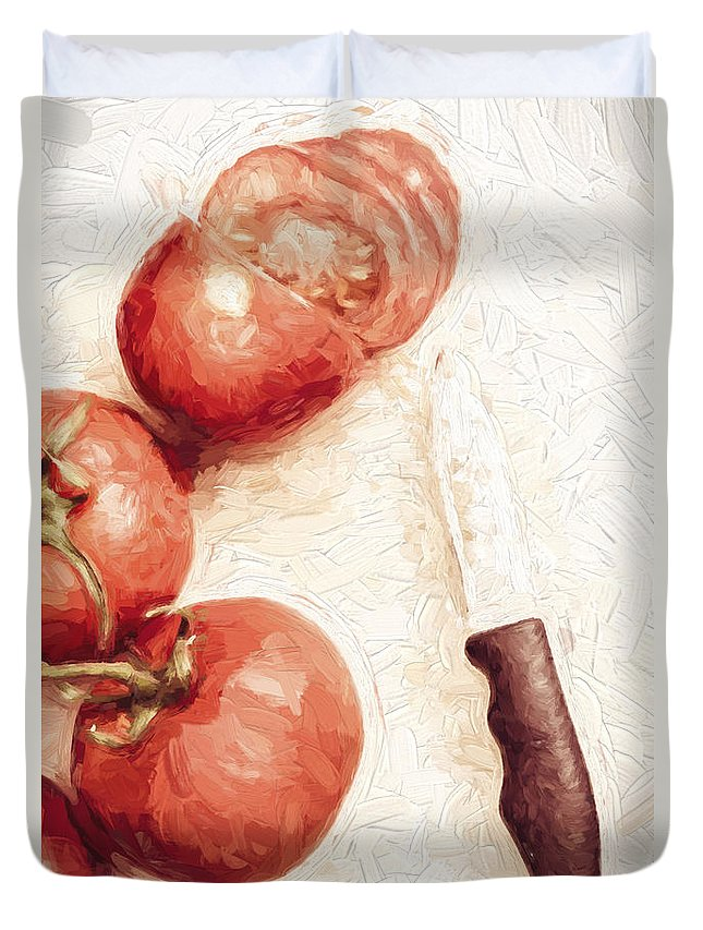Knife Duvet Cover featuring the digital art Sliced Tomatoes. Vintage Cooking Artwork by Jorgo Photography - Wall Art Gallery
