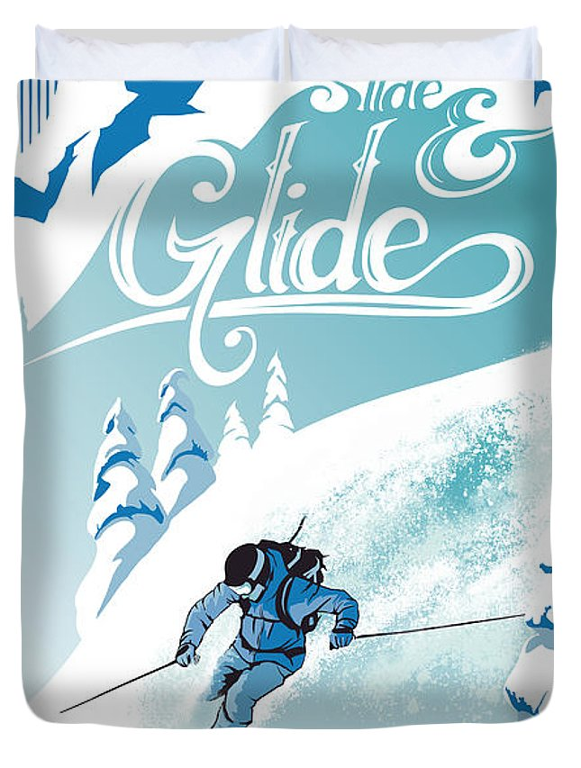 Ski Duvet Cover featuring the painting Slide And Glide Retro Ski Poster by Sassan Filsoof