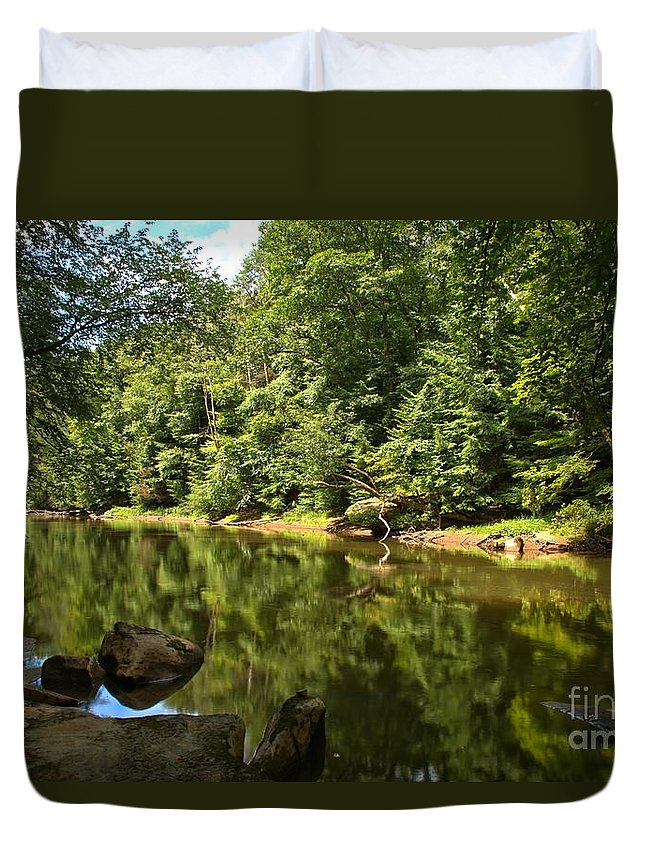 Slippery Rock Creek Duvet Cover featuring the photograph Slippery Rock Creek by Adam Jewell