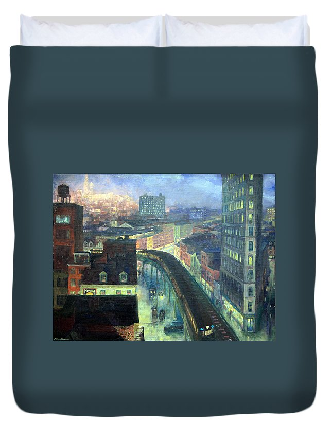 The City From Greenwich Village Duvet Cover featuring the photograph Sloan's The City From Greenwich Village by Cora Wandel