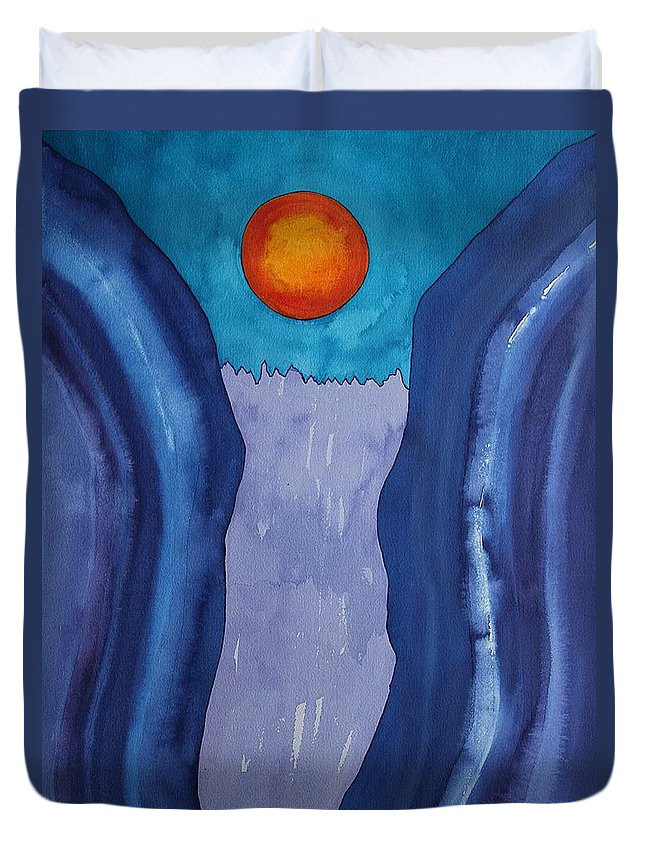 Slot Canyon Duvet Cover featuring the painting Slot Retablo Original Painting by Sol Luckman