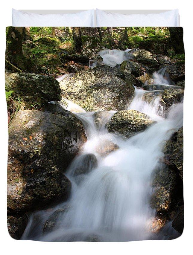 Countryside Duvet Cover featuring the photograph Slow Shutter Waterfall Scotland by Deborah Benbrook