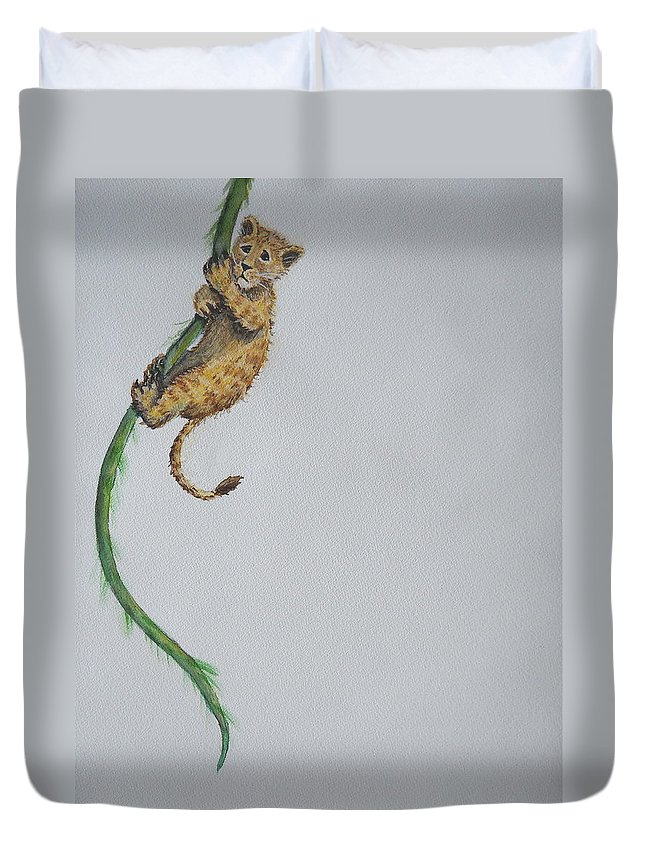 Lion Duvet Cover featuring the painting Slowly The Vine Began To Rip by Sheena Kohlmeyer