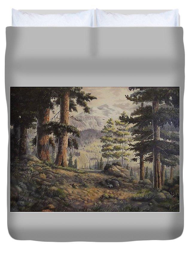 Slumgullian Mountain Colo. Duvet Cover featuring the painting Slumgullian Pass by Wanda Dansereau