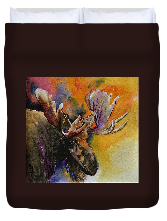 Moose Duvet Cover featuring the painting Sly Moose by Beverley Harper Tinsley