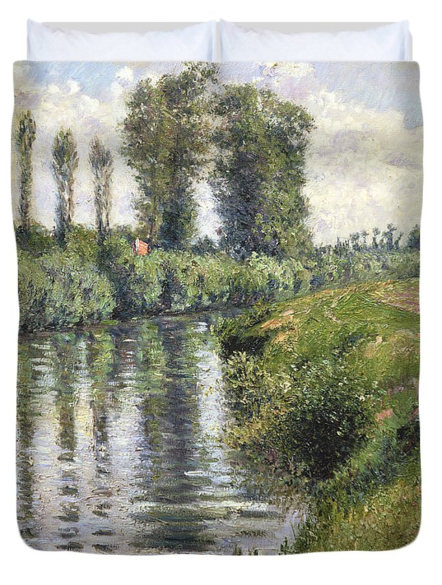 River; Impressionist; Landscape; Banks; Reflection; Reflet Duvet Cover featuring the painting Small Branch Of The Seine At Argenteuil by Gustave Caillebotte