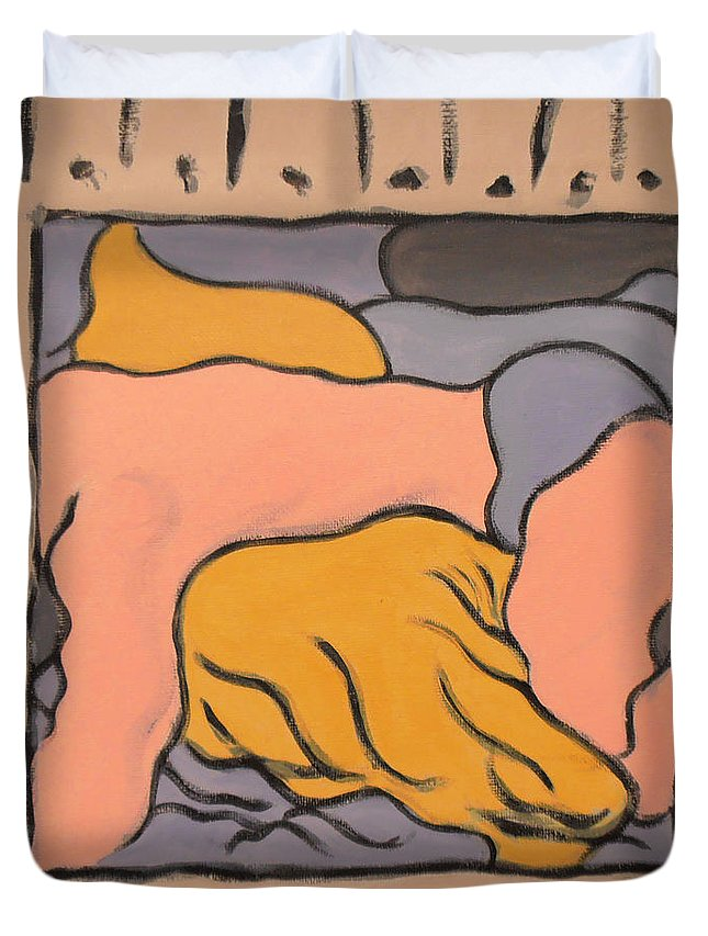 male Nude Duvet Cover featuring the painting Small Framed Bedscape One Am by Stan Magnan