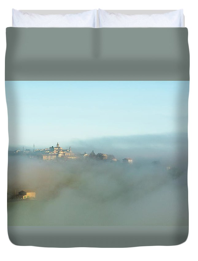 Scenics Duvet Cover featuring the photograph Small Italian Village In The Fog by Deimagine