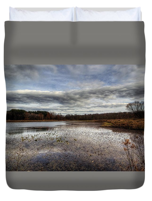 Water Duvet Cover featuring the photograph Small Lake Scene by David Dufresne