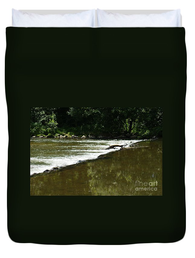 Water Duvet Cover featuring the photograph Small Ripples After Falls by Rob Luzier