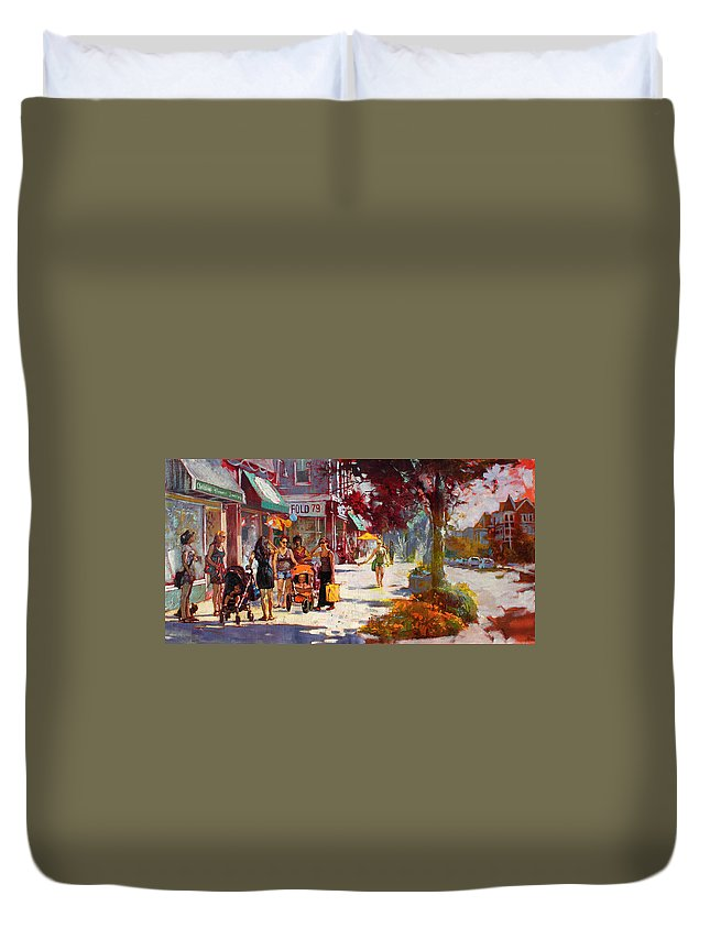 Landscape Duvet Cover featuring the painting Small Talk In Elmwood Ave by Ylli Haruni