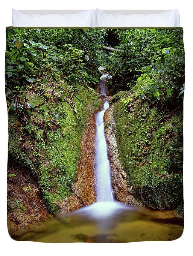 South America Duvet Cover featuring the photograph Small Waterfall In Tropical Rain Forest by Fstoplight