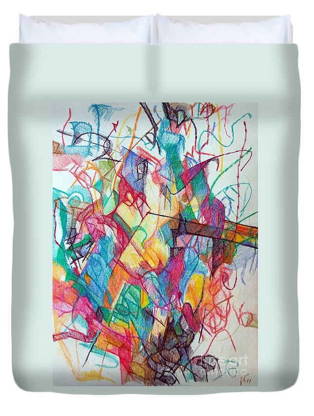 Torah Duvet Cover featuring the drawing Smaller Than Small 1 by David Baruch Wolk