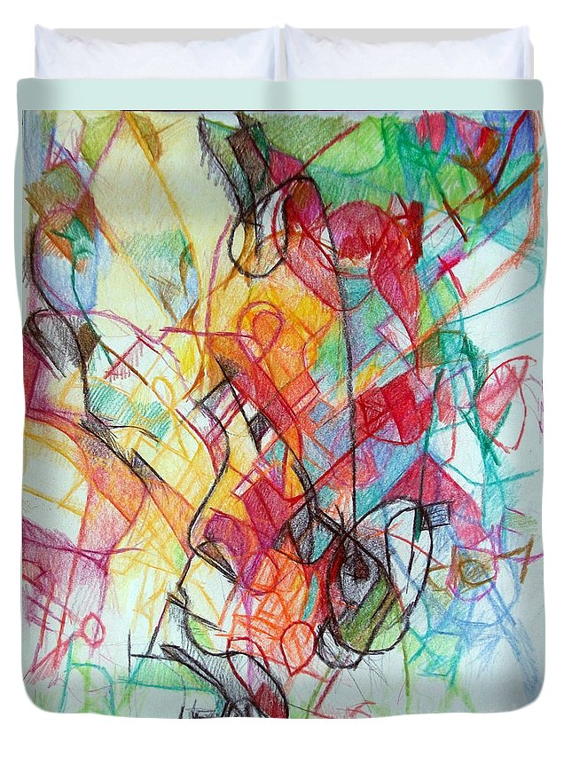Torah Duvet Cover featuring the drawing True Humility 2 by David Baruch Wolk