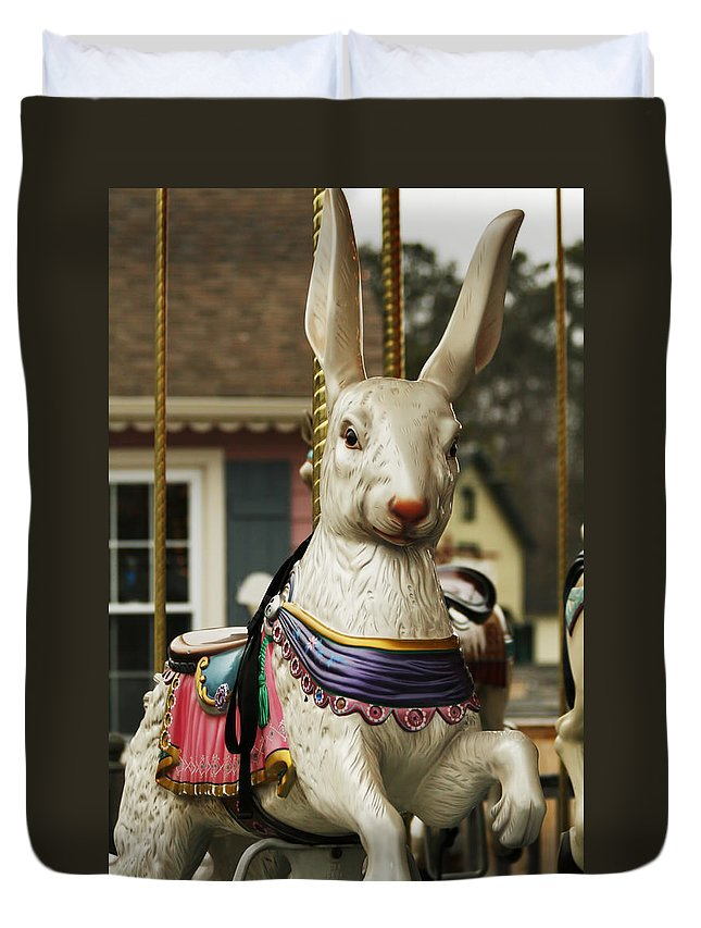 Carousel Duvet Cover featuring the photograph Smithville Carousel Rabbit by Kristia Adams