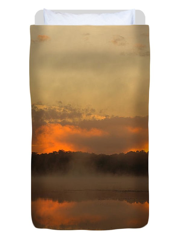 Sunrise Duvet Cover featuring the photograph Smoke On The Water by Thomas Young