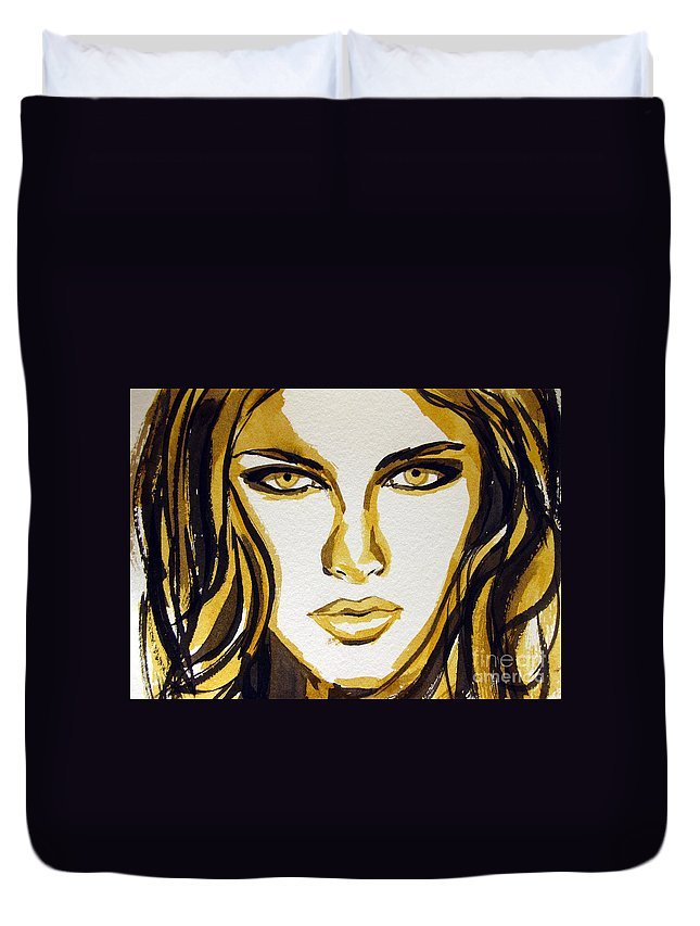 Woman Duvet Cover featuring the painting Smokey Eyes Woman Portrait by Patricia Awapara