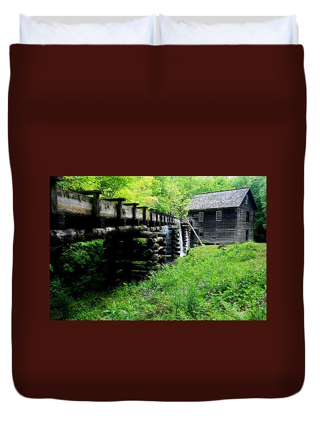 Mingus Mill Duvet Cover featuring the photograph Smoky Mountain Mill by Marty Fancy