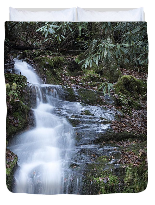 Rock Waterfall Duvet Cover featuring the photograph Smokey Mountain Waterfall by Michael Waters