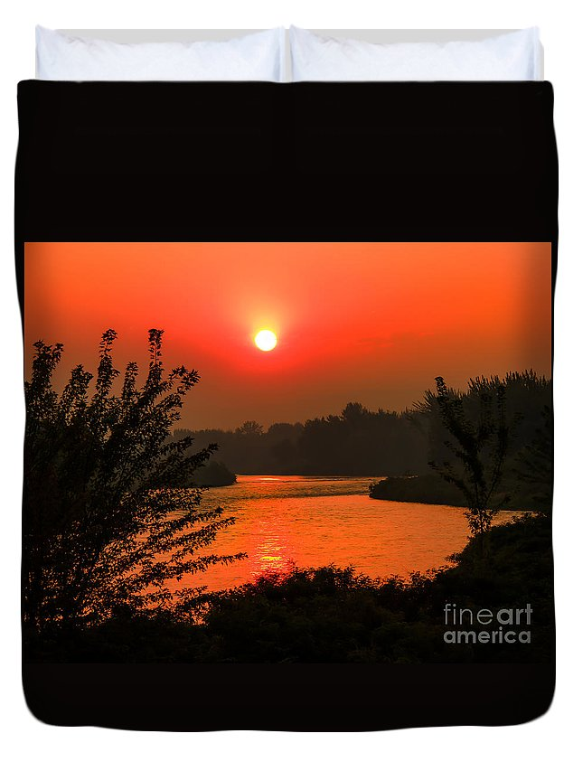Sunrise Duvet Cover featuring the photograph Smokey Sunrise by Robert Bales