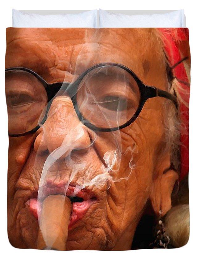 Smoking Duvet Cover featuring the digital art Smoking - Caribbean Serie by Gabriel T Toro