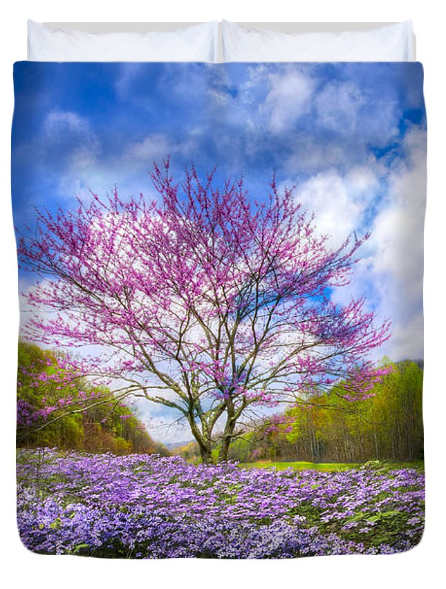 Appalachia Duvet Cover featuring the photograph Smoky Mountain Spring by Debra and Dave Vanderlaan