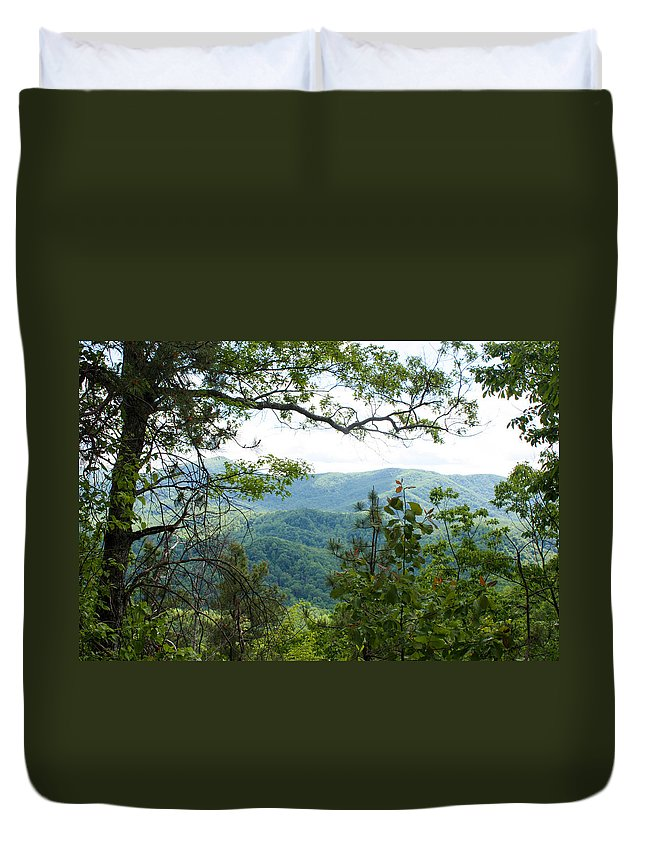 Mountain View Laurel Falls Trail Duvet Cover featuring the photograph Smoky Mountain View Laurel Falls Trail by Cynthia Woods