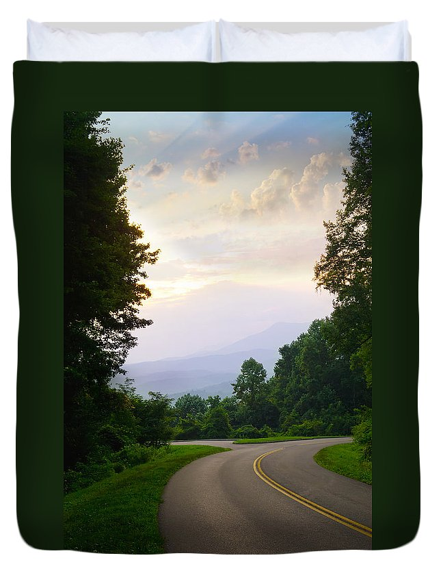 Morning Duvet Cover featuring the photograph Smoky Mountains Scene by Melinda Fawver